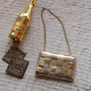 4/$30 Vintage Gold & Silver Checkered Mini Bag